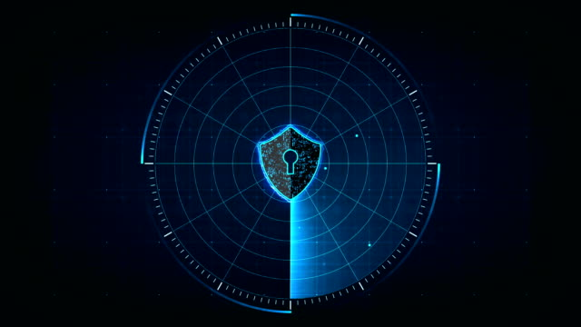 security concept. Internet technology cyber security concept of protect and scan computer virus attack  with Shield icon on digital blue realistic radar with targets on monitor in searching background.seamless loop animation. 4k shield stock videos & royalty-free footage