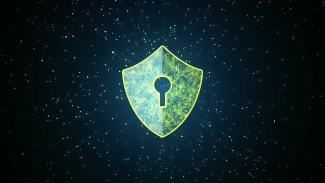 Security concept. Big Data Protection Cyber Security Concept With Shield Icon In Cyber Space.Cyber Attack Protection For Worldwide Connections,Block chain. Digital Big Data Stream Analysis. encryption stock videos & royalty-free footage