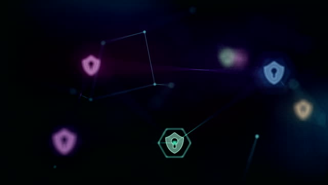 Security concept. Animation Security network connections. Abstract background of internet communication futuristic cyber technology network safety and protection concept. Social media background. sicurezza stock videos & royalty-free footage
