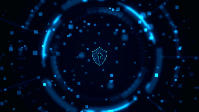 security concept Cyber security concept: Shield With Keyhole icon on digital data background. . Blue abstract hi speed internet technology. sicurezza stock videos & royalty-free footage
