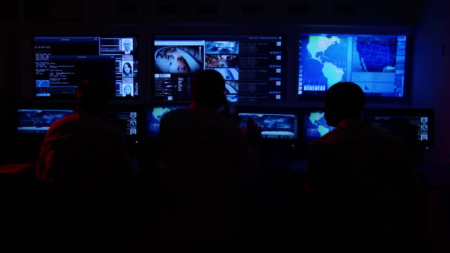 CCTV Security control room and office staff video