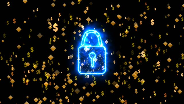 security digital lock social media icon particle explosive gold dollar symbol motion technology big data and luxury gold numeric background on black screen security digital lock social media icon particles explosive gold dollar symbol motion technology big data and luxury gold numeric background on black screen treasury stock videos & royalty-free footage