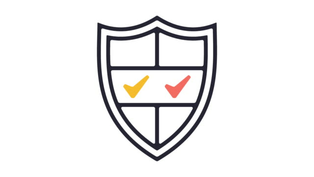 Security Line Icon Animation Thin line animation of protection software. shield stock videos & royalty-free footage