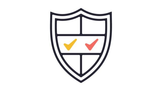 vídeos y material grabado en eventos de stock de seguridad línea icono animación - shield