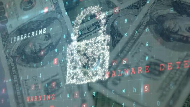 Security padlock icon against American dollars rotating
