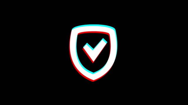 vídeos de stock e filmes b-roll de security shield icon vintage twitched bad signal animation. - escudo