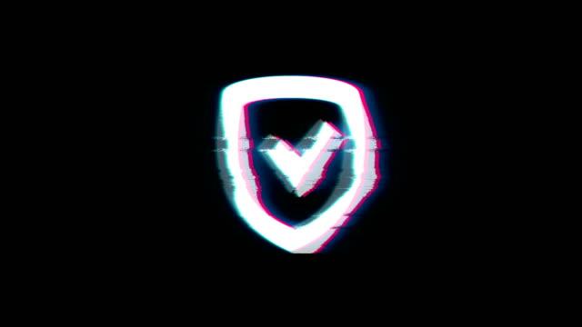 vídeos de stock e filmes b-roll de security shield symbol on glitch retro vintage animation. - escudo