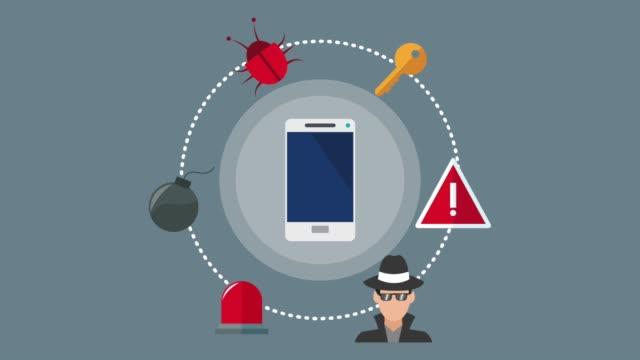 セキュリティ システムとハッカーの hd のアイコンのアニメーション - ウイルス対策ソフト点の映像素材/bロール