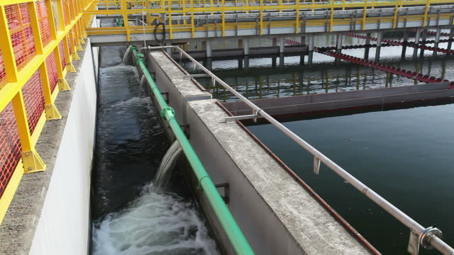 Sedimentation tanks in a sewage treatment plant video