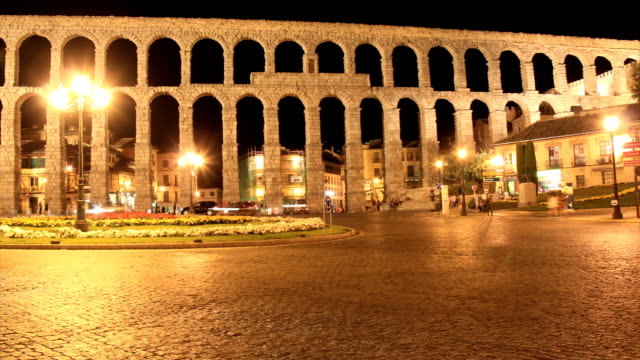 Segovia aqueduct time lapse HD video