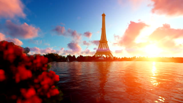 Seine in Paris with Eiffel Tower against beautiful sunset video