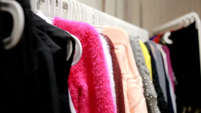 Selection of women's clothing in the store video