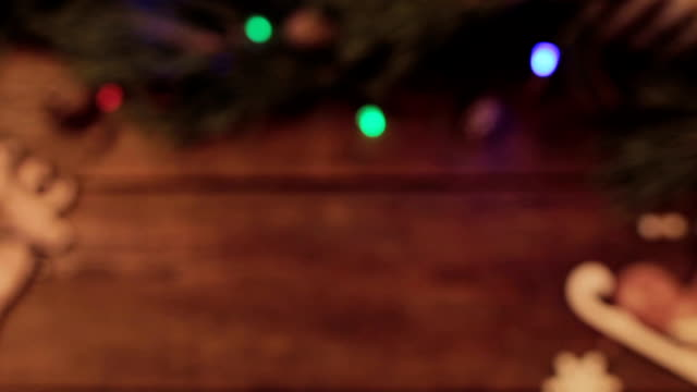 Selective focus festive Christmas wooden backdrop video