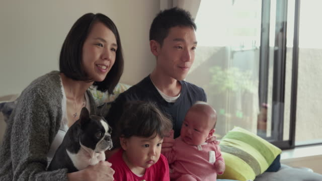 4K, Selective focus. Japanese family spending time together in their home. Tokyo, Japan video