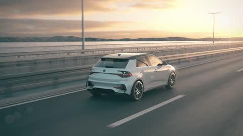 vídeos y material grabado en eventos de stock de autoconducción autónoma coche eléctrico autónomo conduciendo a lo largo de un puente - conducir