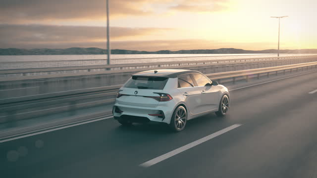 vidéos et rushes de voiture électrique autonome d'auto-conduite conduisant le long d'un pont - voiture