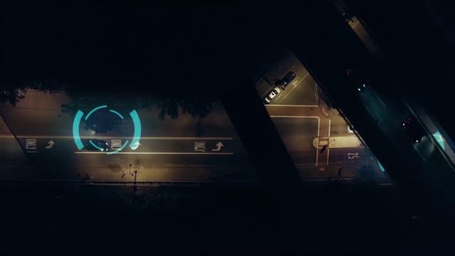 夜間4kで自動運転自動操縦自律走行車 - 自動運転車点の映像素材/bロール