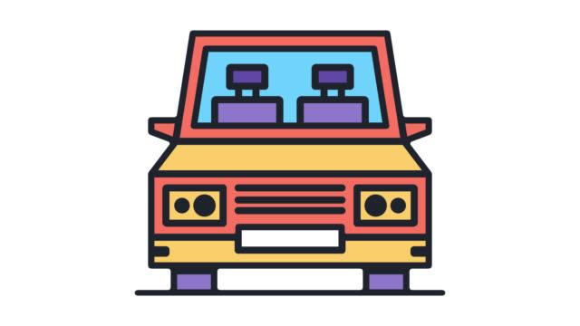 自車のアルファを持つ車フラット ライン アイコン アニメーション - 相乗り点の映像素材/bロール