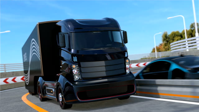 Self driving hybrid truck on highway Self driving hybrid truck on highway. 3D rendering animation. independence stock videos & royalty-free footage