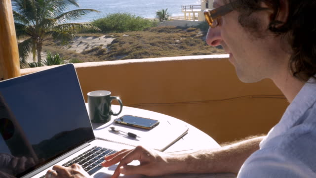 Self employed entrepreneur man working on laptop from home office Handsome self employed entrepreneur man working on laptop from home office beach house with ocean view minority groups stock videos & royalty-free footage