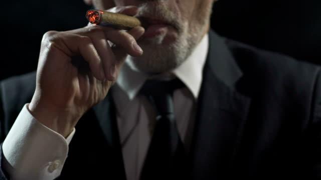 ricco uomo d'affari sicuro di sé che inala fumo di sigaro, godendo di tabacco di lusso - sigaro video stock e b–roll