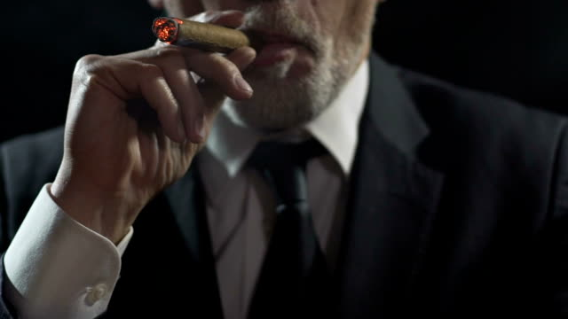 Self-confident rich businessman inhaling cigar smoke, enjoying luxury tobacco video