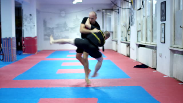 Self-defence class. Men training in the gym. They are doing self - defense exercise. They are young adult 25-29-year-old and professionals . Self-defence class. martial arts stock videos & royalty-free footage