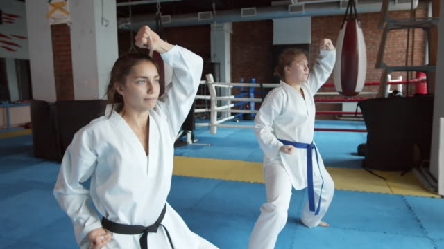 Self-defense Training Medium shot of two young barefoot female karatekas practicing different punches in indoor gym martial arts stock videos & royalty-free footage