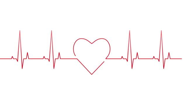 Self-drawing heartbeat line