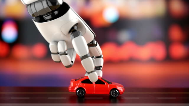 Selbstfahrendes Auto-Konzept. 3D-Rendering. – Video