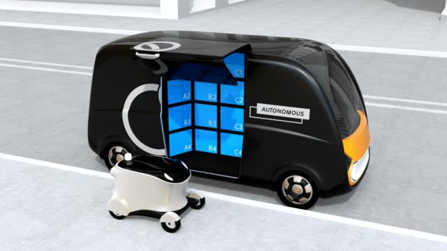 自走式配信バン開かれた側のドアと転送小包モバイル配信ドローンに - 自動運転車点の映像素材/bロール