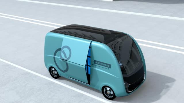 Self-driving delivery van opened side door video
