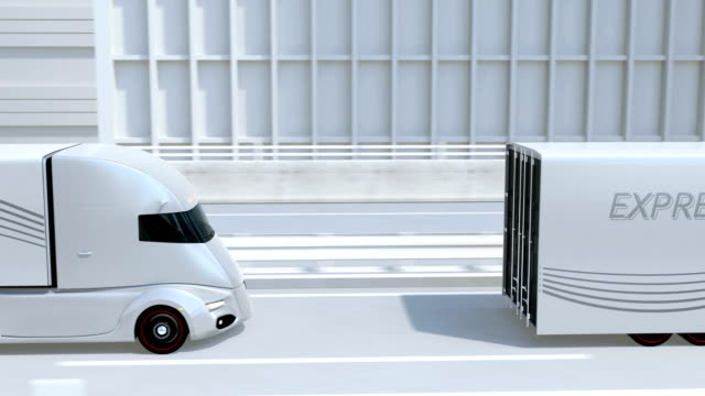 self-driving electric semi trucks driving on highway - self driving cars stock videos & royalty-free footage