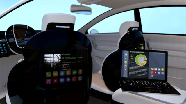 Self-driving SUV interior concept Self-driving SUV interior concept. Front seats with big LCD screen for entertainment or business needs. 3D rendering animation independence stock videos & royalty-free footage