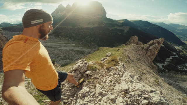 POV Selfie extreme trail running on the mountain video