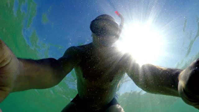 Selfie of man swimming on water surface. gopro dome shot Selfie of man swimming on water surface. gopro dome shot aegean turkey stock videos & royalty-free footage