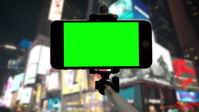 NYC selfie POV Time Square people crowd green screen chromakey smartphone video