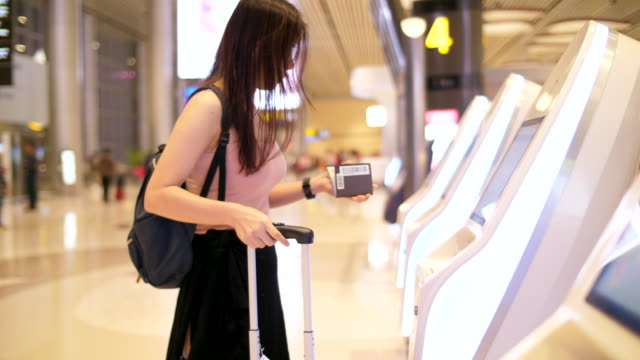 Self-service  Check-in at the airport Adult, Airline Check-In Attendant checkout stock videos & royalty-free footage