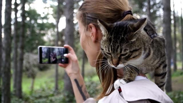 selfy. una ragazza con un gatto fa un selfie - felino video stock e b–roll