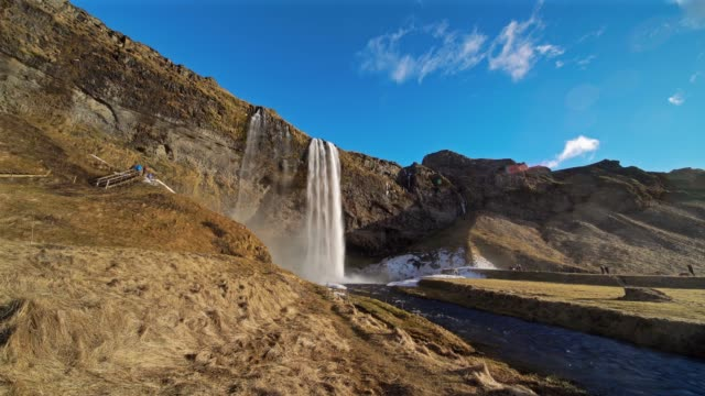 Seljalandfoss Waterfall Idyllic Landscape in Iceland video