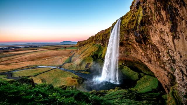 SLOW MOTION Seljalandsfoss waterfall Iceland