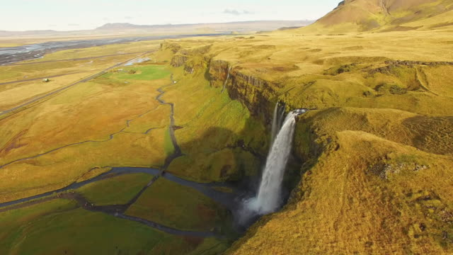 AERIAL Seljalandsfoss waterfall video
