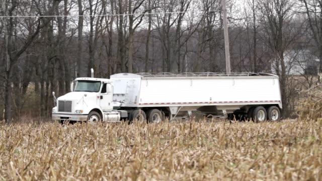 Semi Truck & Corn Stalks - Harvest video