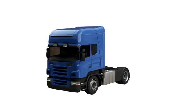camion semi spin avec luma matte - Vidéo