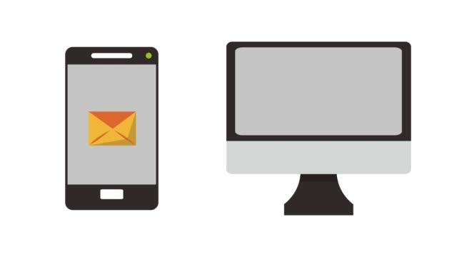 send email from smartphone hd animation - inviare video stock e b–roll