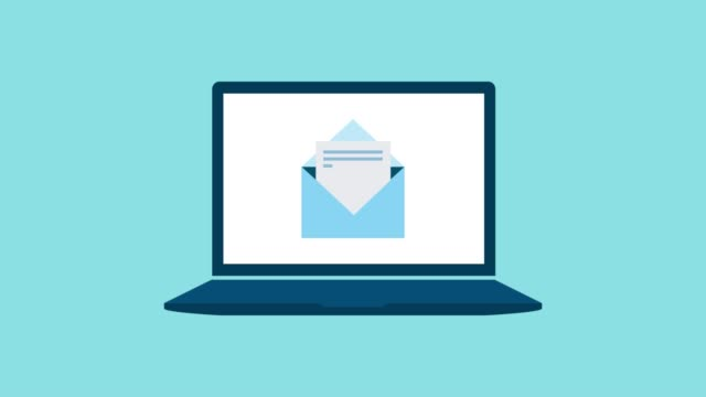 Sending e-mail on a laptop Sending e-mail online on a laptop, communication and technology concept email icon stock videos & royalty-free footage