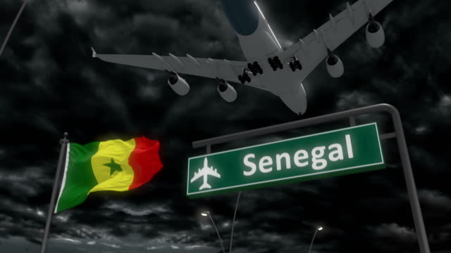 senegal, approach of the aircraft to land - senegal video stock e b–roll