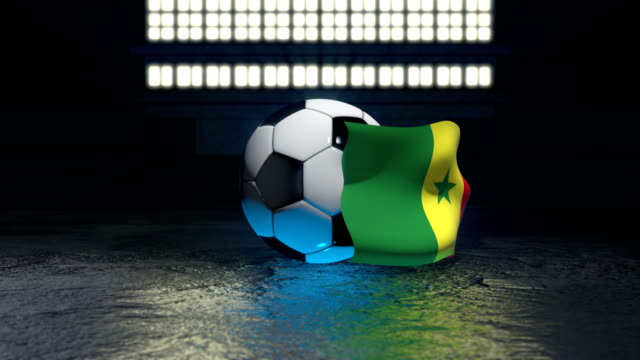 Senegal flag flies around a soccer ball Senegal flag flies around a soccer ball revolving around its axis senegal stock videos & royalty-free footage