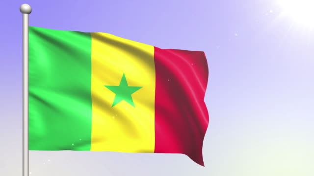 senegal flag (loopable) - dakar video stock e b–roll