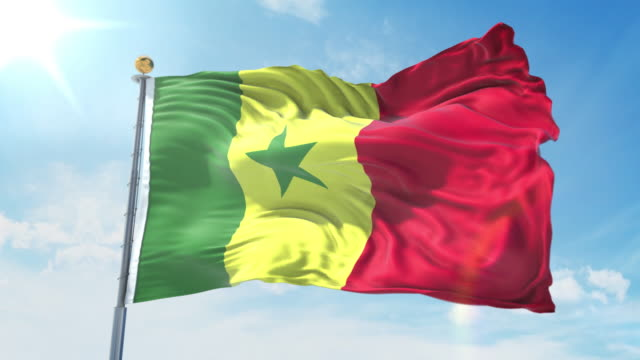 senegal flag waving in the wind against deep blue sky. national theme, international concept. 3d render seamless loop 4k - dakar video stock e b–roll